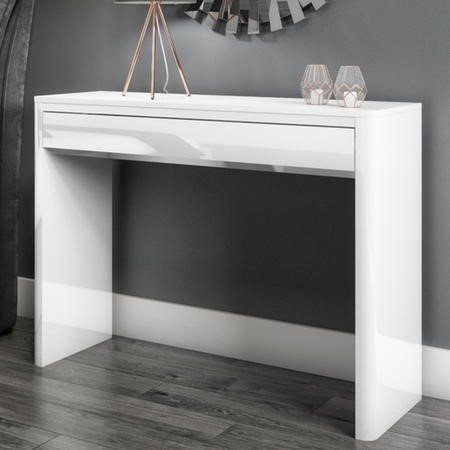 Brilliant Lexi Slim White High Gloss Console Table With Drawers Gmtry Best Dining Table And Chair Ideas Images Gmtryco