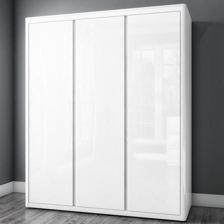 1872bf7c89 Lexi White High Gloss Triple Wardrobe With 3 Gloss Doors - Buy It Direct