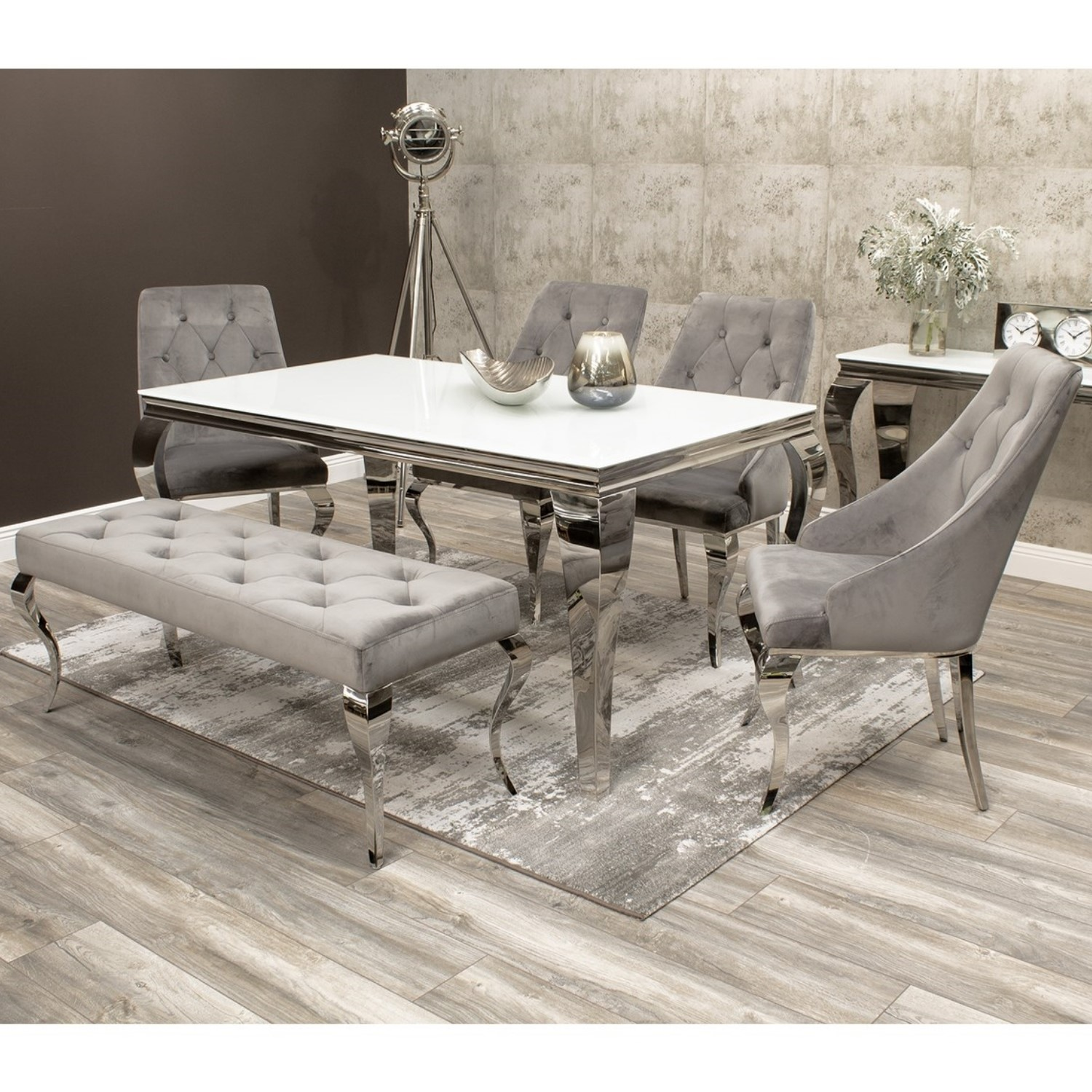 Buyitdirect.ie & Louis White Dining Table 160cm with 4 Grey Velvet Chairs \u0026 1 Bench - Mirrored Legs