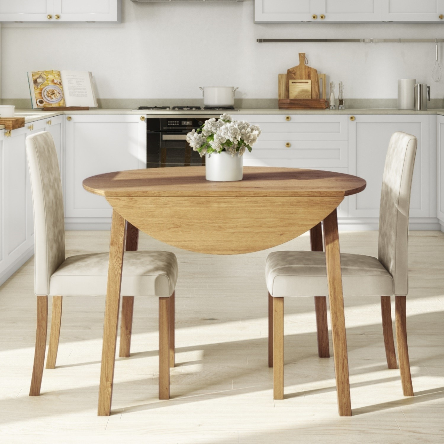 Picture of: Round Oak Drop Leaf Dining Table 2 Cream Velvet Chairs New Haven Buyitdirect Ie