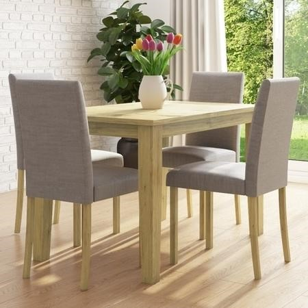 New Haven Oak Extendable Dining Set with 4 Grey Fabric Dining Chairs