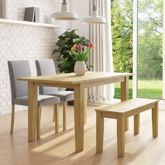 Marvelous New Haven Oak Extendable Dining Set With 2 Grey Dining Chairs And Dining Bench Alphanode Cool Chair Designs And Ideas Alphanodeonline