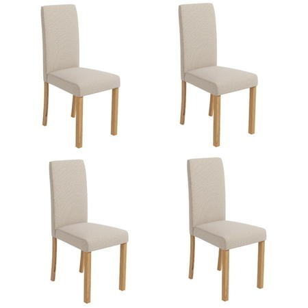 4 New Haven Cream Fabric Dining Chairs