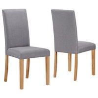 New Haven Pair of Dining Chairs in Grey Fabric