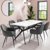 White Gloss Dining Table with 6 Logan Grey Velvet Dining Tub Chairs - Rochelle