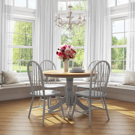 Rhode Island Round Dining Set with 4 Grey Chairs