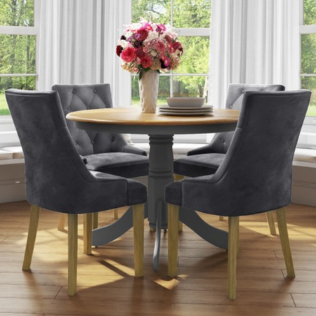 Small Round Dining Table with 4 Velvet Chairs in Oak & Grey - Rhode Island & Kaylee