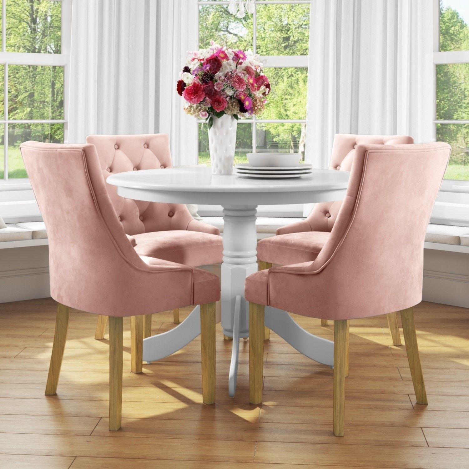 Small Round Dining Table In White With 4 Velvet Chairs In Pink Rhode Island Kaylee Buyitdirect Ie