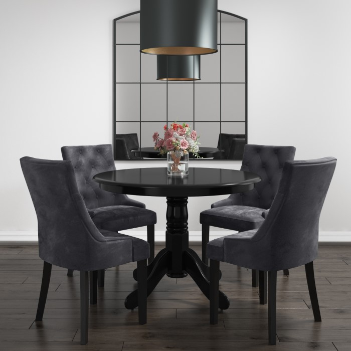 Small Round Dining Table In Black With 4 Velvet Chairs In Grey Rhode Island Kaylee