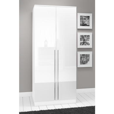 Space White High Gloss 2 Door Wardrobe