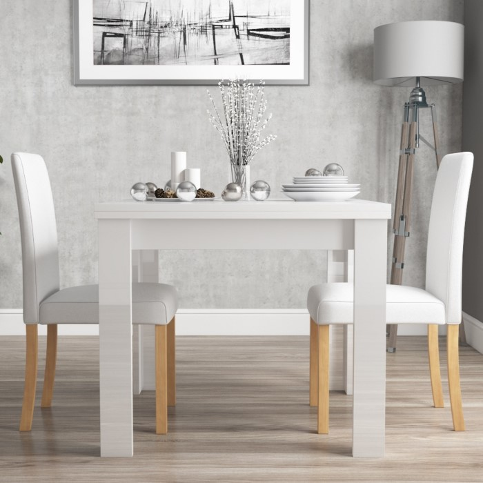 d4c9d08b5f61 ... White High Gloss Dining Table + 2 Faux Leather Chairs. view larger  image View larger image