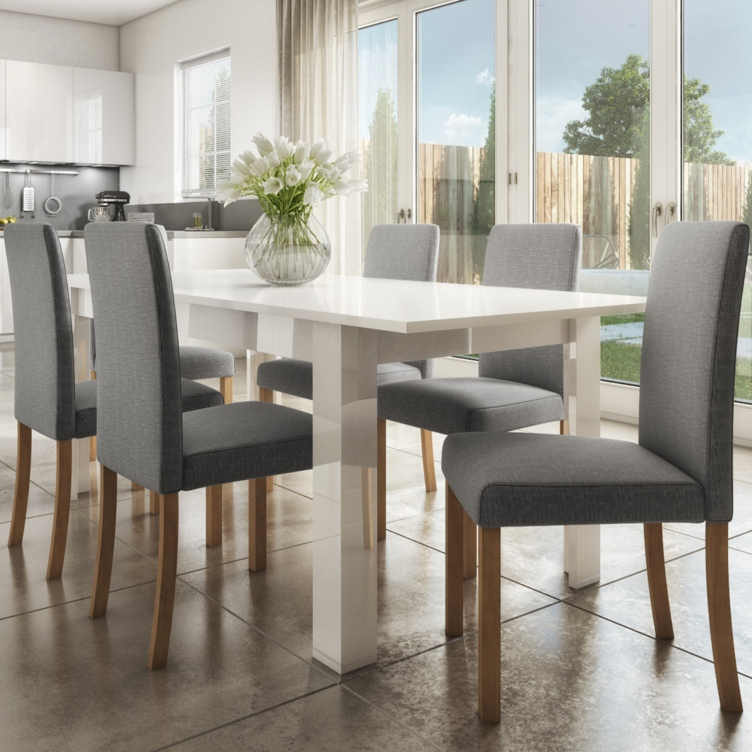 Vivienne Extendable White High Gloss Dining Table 6 Grey Fabric