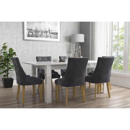 Vivienne Extendable White High Gloss Dining Table Set + 6 Grey Velvet Dining Chairs