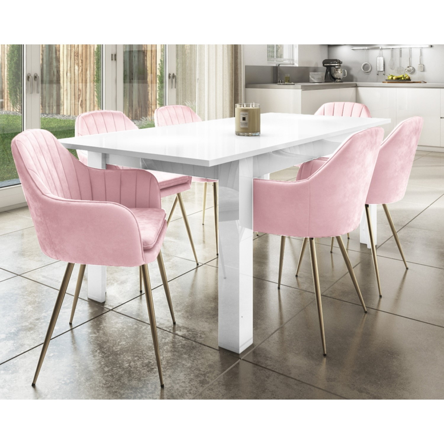Picture of: Extendable Dining Table In White High Gloss 6 Pink Velvet Tub Chairs Vivienne Buyitdirect Ie