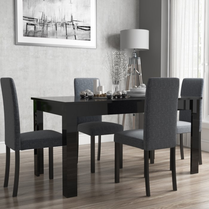 f7edc07358c4 Vivienne Extendable Black High Gloss Dining Table + 4 Slate Grey Chairs.  view larger image View larger image