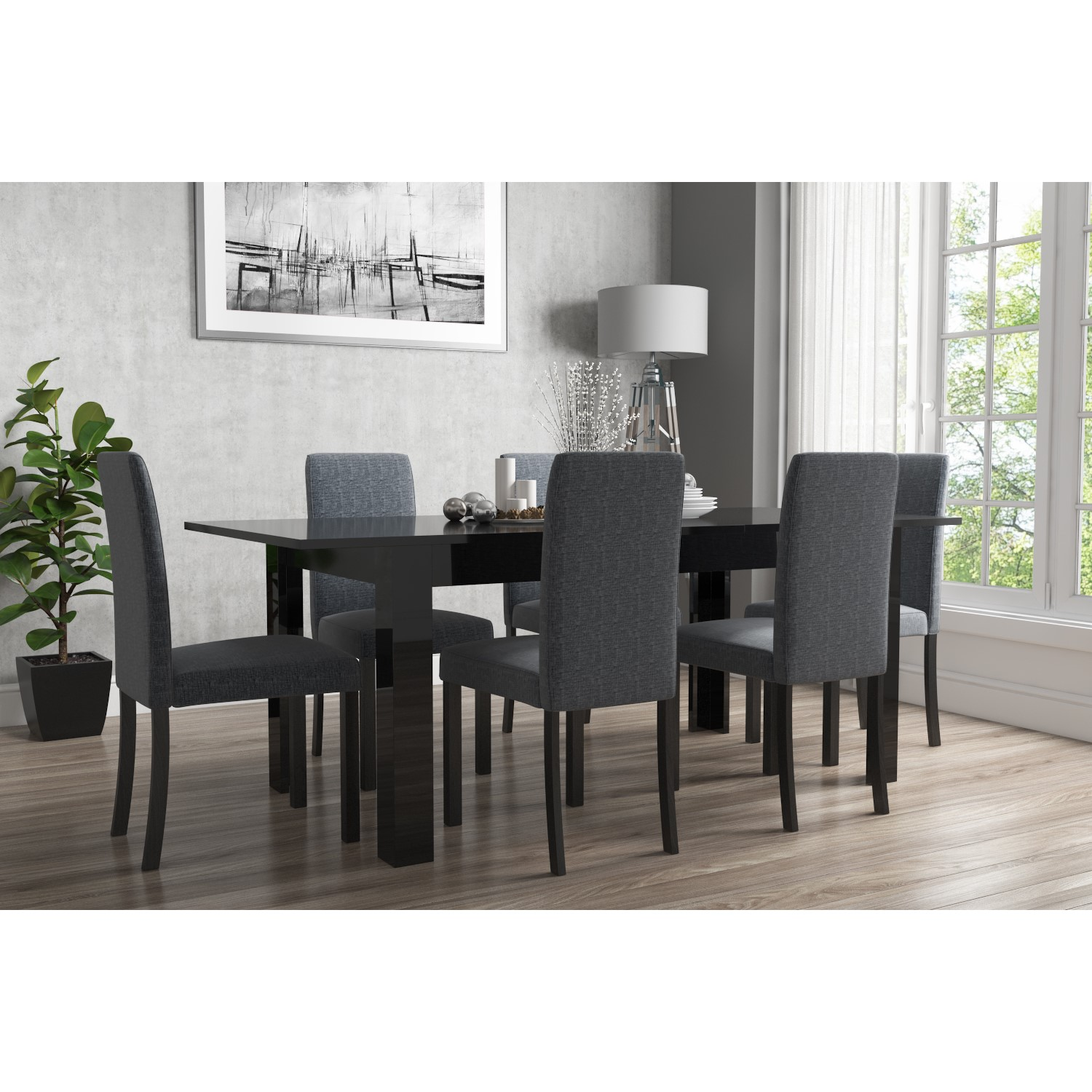 Cucina Letters Kitchen Decor, Extendable Dining Table In Black High Gloss With 6 Grey Chairs Vivienne New Haven Buyitdirect Ie