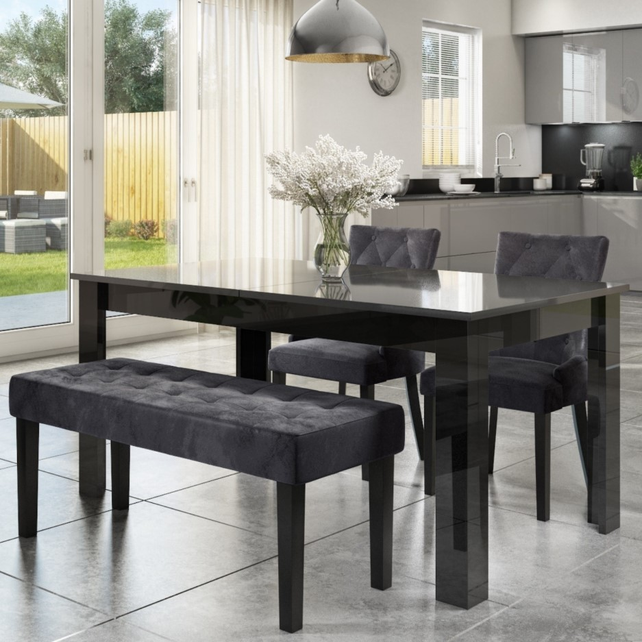Extendable Dining Table In Black High Gloss With 2 Grey Velvet Chairs 1 Bench Vivienne Kaylee