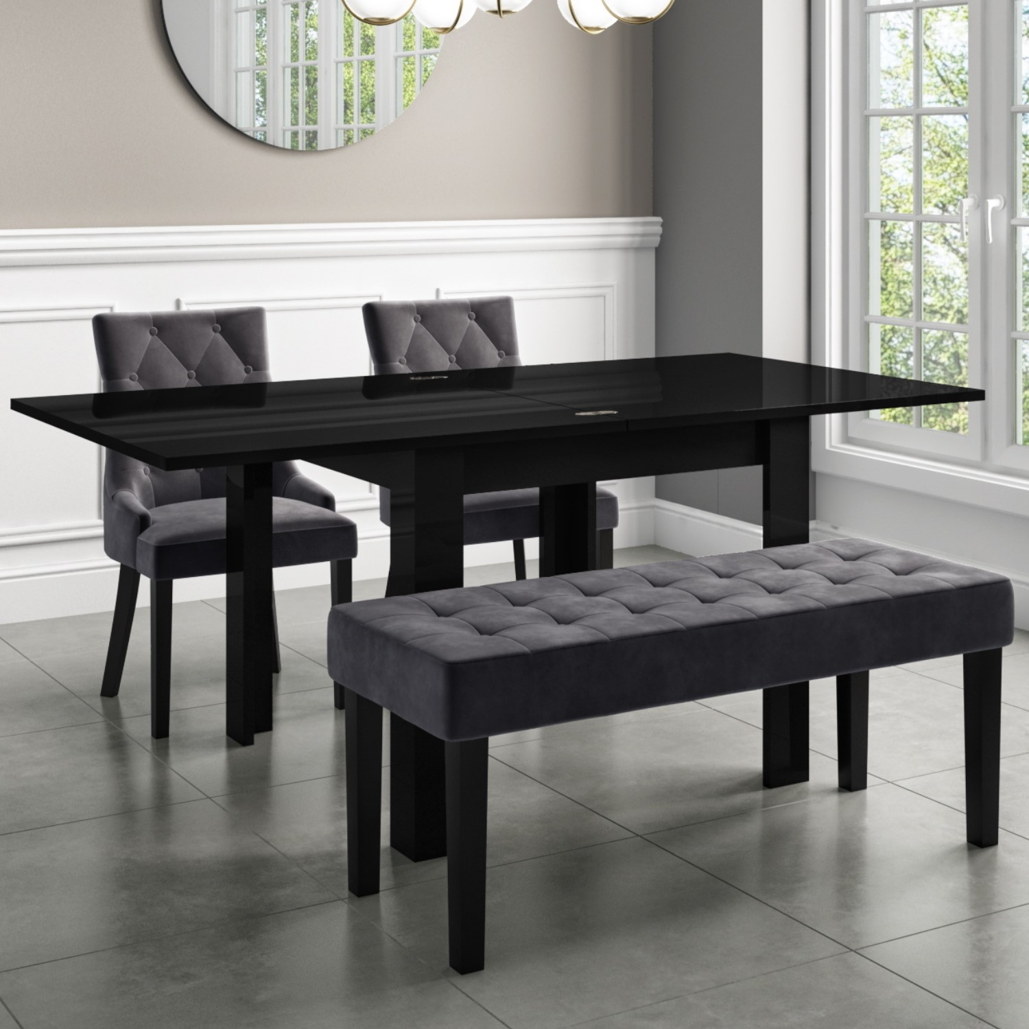 Flip Top Dining Table In Black High Gloss With 2 Grey Velvet Chairs 1 Bench Vivienne Kaylee Buyitdirect Ie