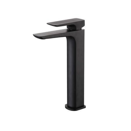 Zana Square Single Lever Tall Basin Mixer Tap - Black