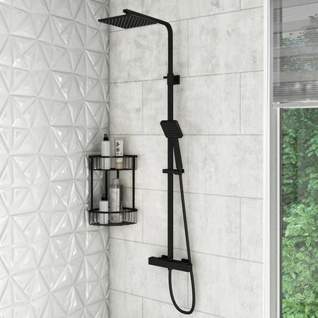 Zana Black Square Thermostatic Mixer Shower Set with Exposed Valve