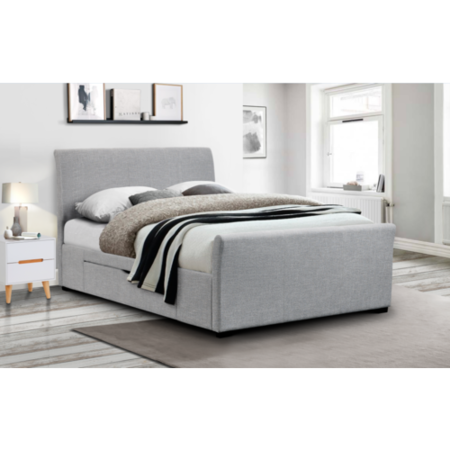 Julian Bowen Capri Grey Upholstered Double Bed With Under Bed Storage