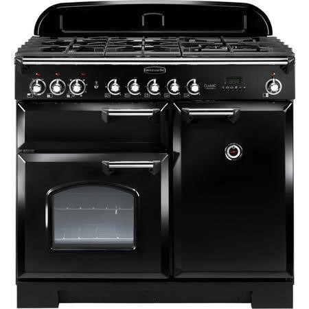 Rangemaster 92490 Classic Deluxe 100cm Dual Fuel Range Cooker - Black And Chrome