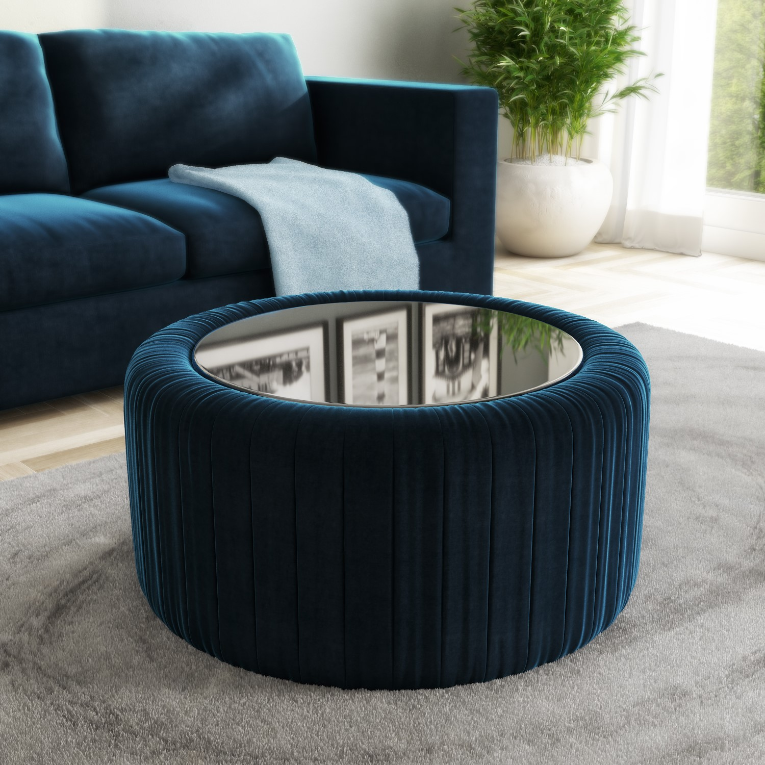 Navy Blue Velvet Ottoman Storage Pouffe With Gl Top Coffee Table Clio
