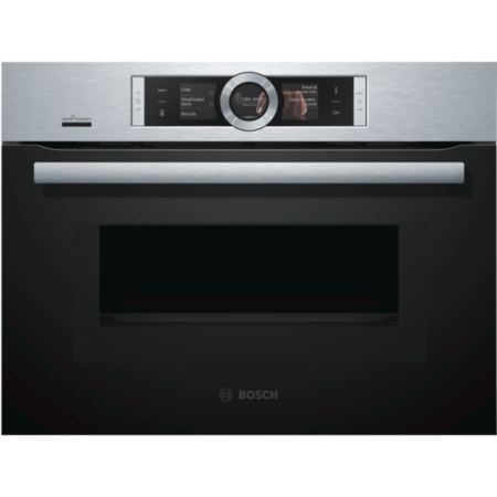 Bosch CMG676BS6B Serie 8 Stainless Steel Built-in Combination Microwave Oven With Touch Controls TFT Colour Display And Home Connect