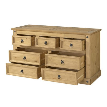 Corona  Solid Pine 3+4 Wide Chest of Drawers