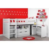 Cosmo Midsleeper Bed in White with Pull Out Desk