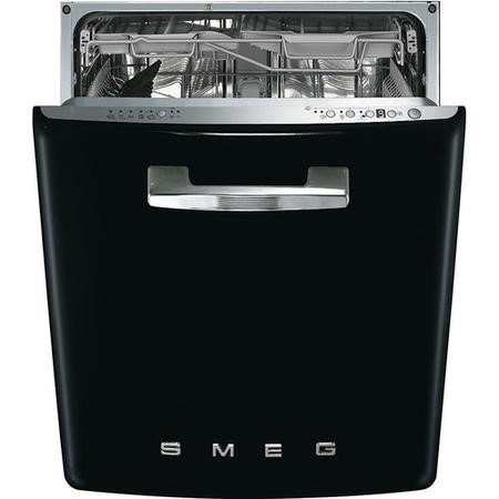 Smeg 50's Retro Style DI6FABBL 13 Place Semi Integrated Dishwasher - Black Door