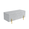 Darcey Velvet Storage Bench in Silver Grey with Gold Leg