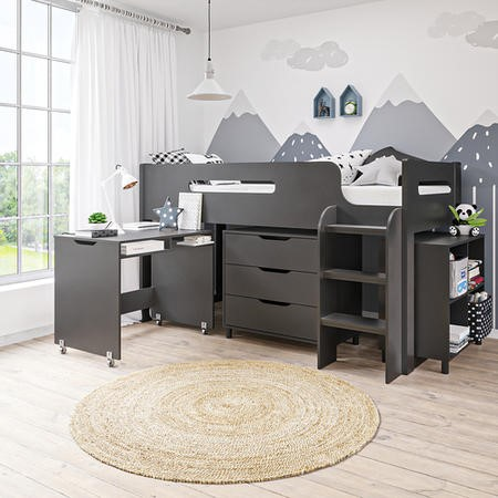 Dynamo Dark Grey Cabin Bed - Ladder Can Be Fitted Either Side!