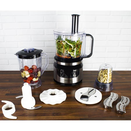 electriQ 7-in-1 800W Multifunctional Touch Control Food Processor - Stainless Steel & Black - EIQFPPREM