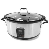 electriQ 6.2L Slow Cooker with Digital LED Display & Cool Touch Handles - Stainless Steel