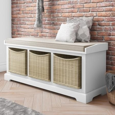 White Farmhouse Shoe Rack Bench with Storage Wicker Baskets & Cushion- Elms