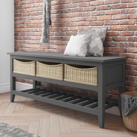 Grey Painted Wood Shoe Rack Storage Bench with Wicker Baskets - Elms Farmhouse