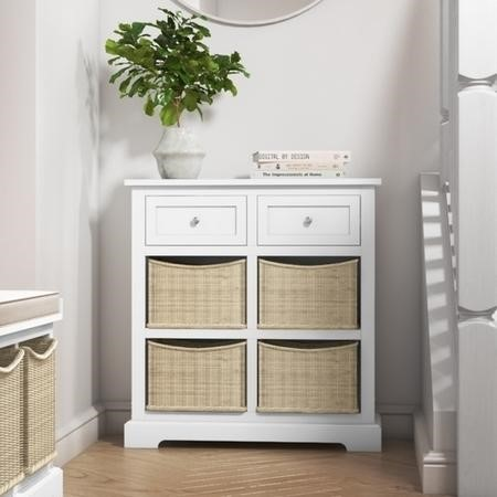 Elms Farmhouse White Shoe Cabinet Storage Sideboard with Wicker Baskets
