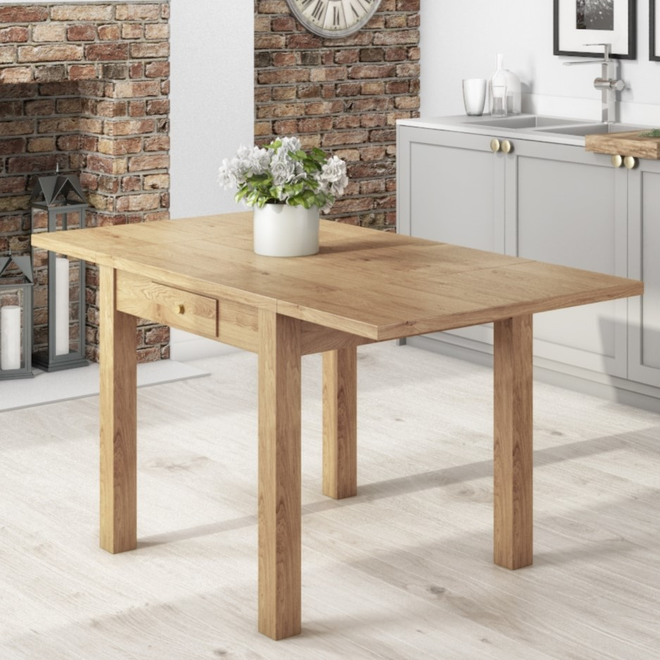 Emerson Extendable Solid Wood Drop Leaf Dining Table Seats 4 6