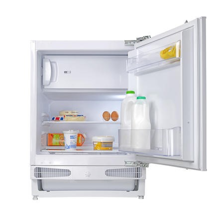 electriQ 115 Litre Integrated Under Counter Larder Fridge With Ice Box 60cm Wide - White