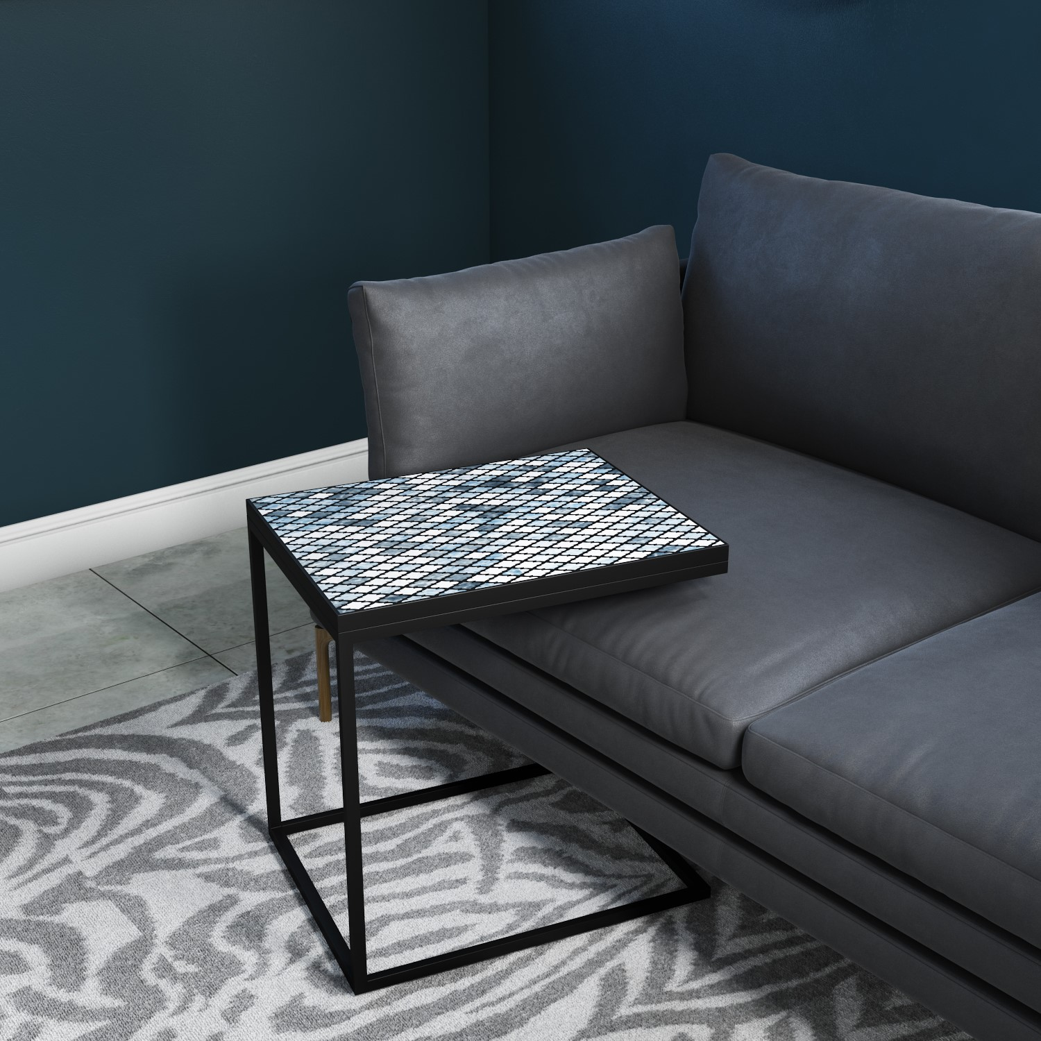 Sofa Table In Black Metal With Blue Top