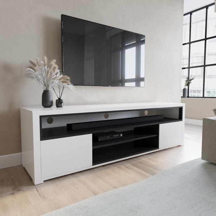 Neo Large White High Gloss Tv Unit With Soundbar Shelf