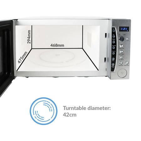 electriQ 1250W 60L Large Capacity Programmable Commercial Microwave with Humidity Sensor for Commercial Kitchens & Catering - Silver