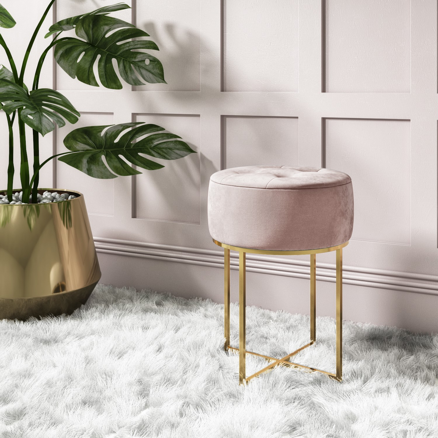 Pink Velvet Dressing Table Stool With Gold Legs Fiorella Buyitdirect Ie