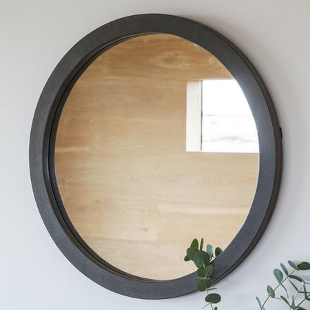 Small Round Wall Mirror in Grey