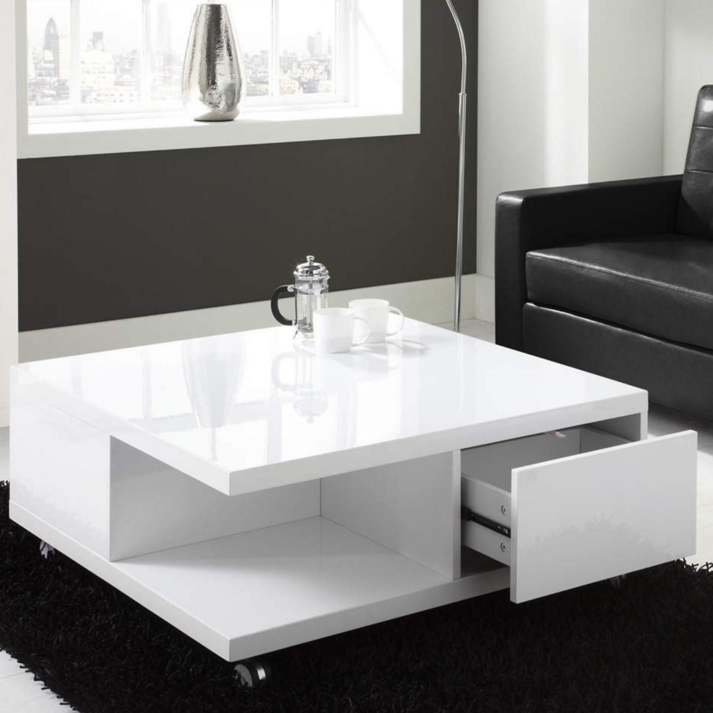 White High Gloss Coffee Table With Storage Drawers Tiffany Range