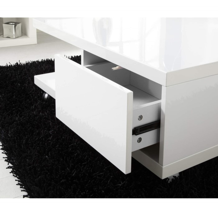 White High Gloss Coffee Table With Storage Drawers