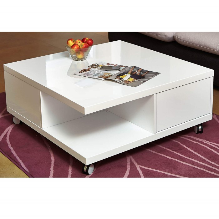 Rectangle High Gloss White Coffee Table With Led Lighting: High Gloss White Storage Coffee Table