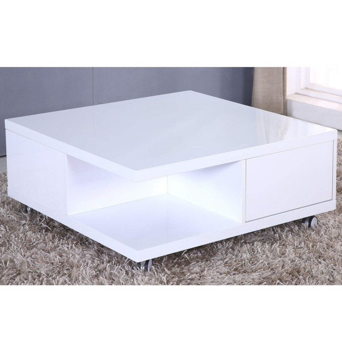 Tiffany White High Gloss Square Coffee Table Furniture: High Gloss White Storage Coffee Table