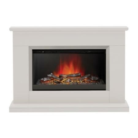 Be Modern Hansford Electric Fireplace Suite in Pearlescent Finish with Glowing Log Bed